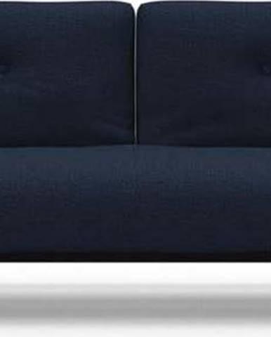 Tmavě modrá rozkládací pohovka s područkami Innovation Ample Mixed Dance Blue, 90x249cm