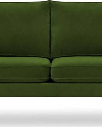 Zelená sametová pohovka s černými nohami Kooko Home Lento, 158 cm