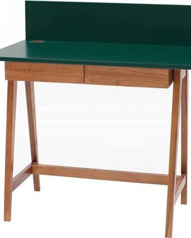 Zelený psací stůl s podnožím z jasanového dřeva Ragaba Luka Oak,délka 85cm