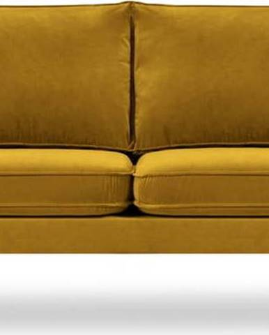 Žlutá sametová pohovka s černými nohami Kooko Home Lento, 198 cm
