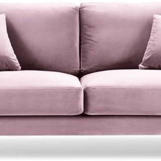 Růžová sametová pohovka Kooko Home Harmony, 158 cm