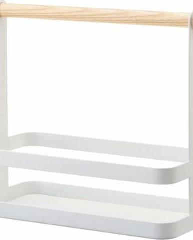 Bílý stojánek s detailem z bukového dřeva na dochucovadla YAMAZAKI Tosca