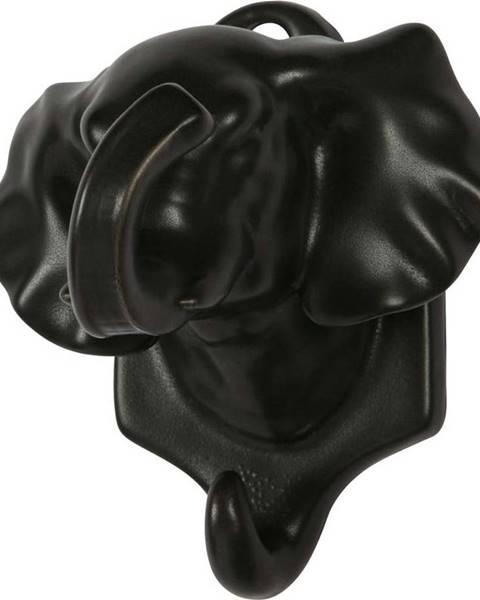 WOOOD Černá porcelánová závěsná dekorace WOOOD Nona Elephant