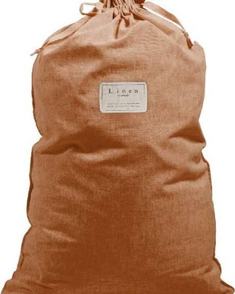 Linen Couture Látkový vak na prádlo s příměsí lnu Linen Couture Bag Terracota, výška 75 cm
