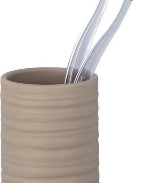 WENKO Pískově hnědý keramický kelímek na kartáčky Wenko Mila