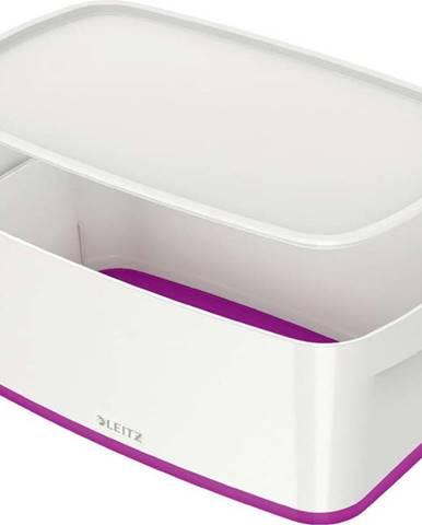 Bílo-fialový úložný box s víkem Leitz Office, objem 5 l
