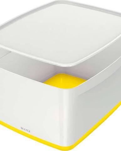 Bílo-žlutý úložný box s víkem Leitz Office, objem 18 l