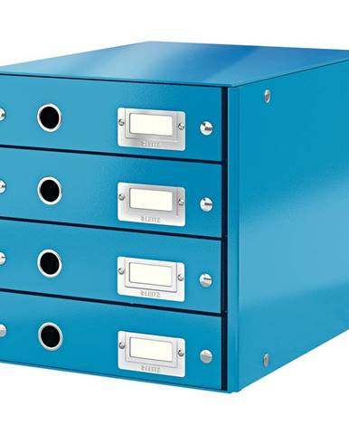 Modrý box se 4 zásuvkami Leitz Office, délka 36 cm