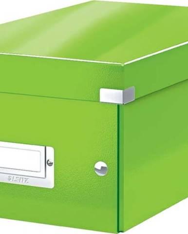 Zelená úložná krabice s víkem Leitz DVD Disc, délka 35 cm