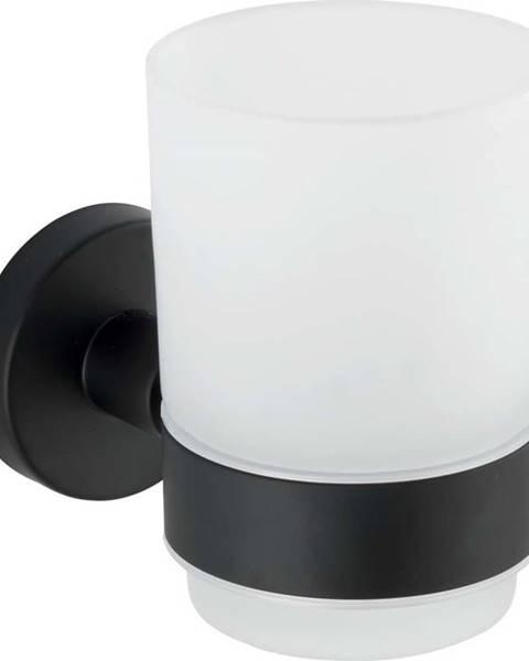 WENKO Bílý nástěnný kelímek na kartáčky s matně černým držákem z nerezové oceli Wenko Uno Bosio