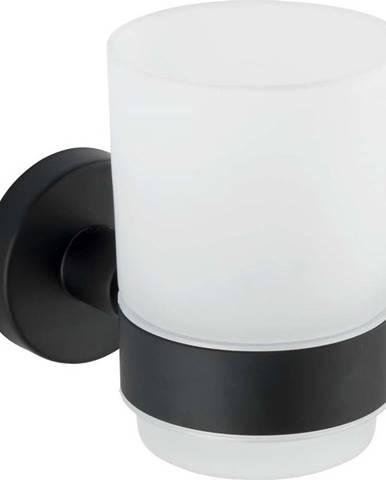 Bílý nástěnný kelímek na kartáčky s matně černým držákem z nerezové oceli Wenko Uno Bosio
