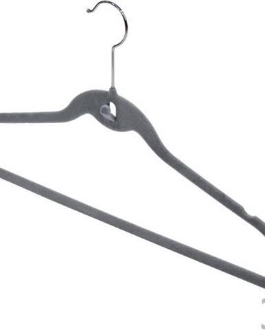 Sada 3 šedých ramínek se zářezy a kalhotovou tyčí Domopak Velvet