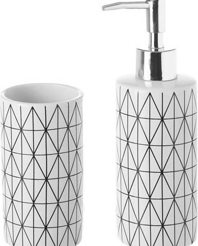 Set keramického kelímku a dávkovače na mýdlo Unimasa Geometry