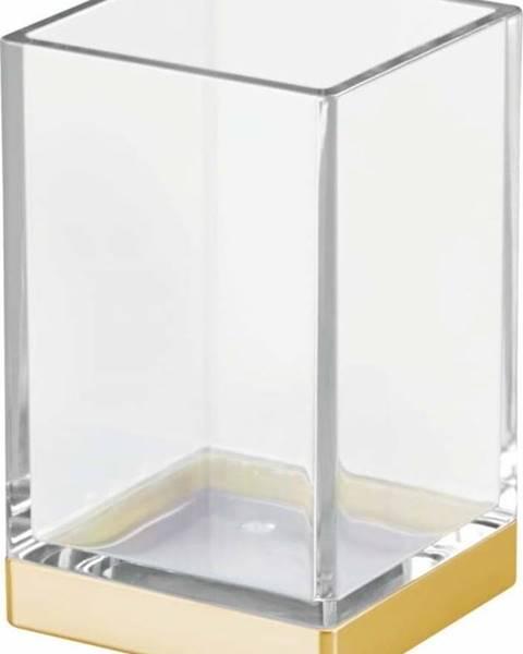 iDesign Plastový koupelnový kelímek s detailem ve zlaté barvě InterDesign