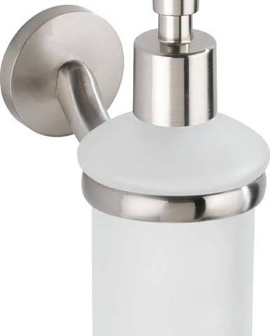 Matně bílý nástěnný dávkovač na mýdlo s držákem z nerezové oceli Wenko Cuba
