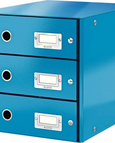 Modrý box se 3 zásuvkami Leitz Office, 36 x 29 x 28 cm