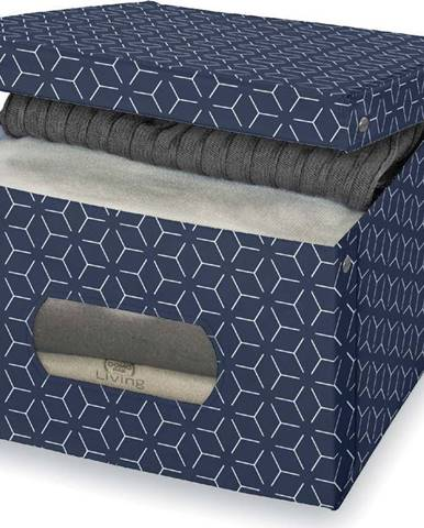 Tmavě modrý úložný box Domopak Metrik Large, 50x39cm