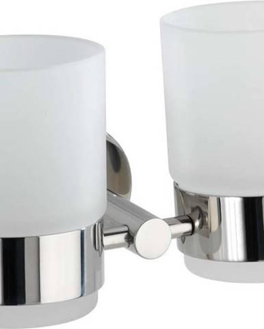 Bílá dvojice nástěnných kelímků na kartáčky Wenko Duo Bosio