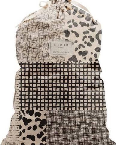 Látkový vak na prádlo s příměsí lnu Linen Couture Bag Leopard, výška 75 cm