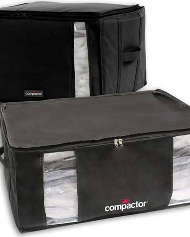 Sada 2 černých úložných boxů s vakuovým obalem Compactor Black Edition XXL, 125 l