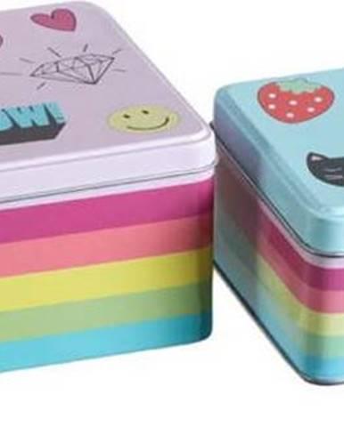 Sada 2 cínových úložných boxů Premier Housewares Fun Times, 13 x 20 cm