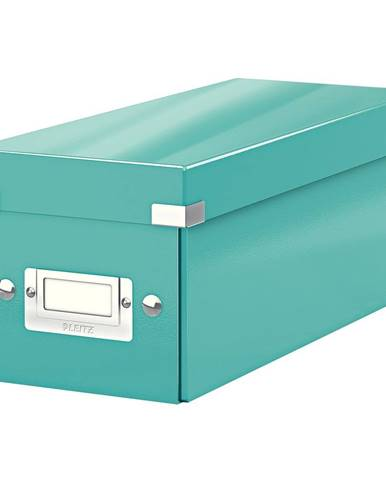 Tyrkysově modrá úložná krabice s víkem Leitz CD Disc, délka 35 cm