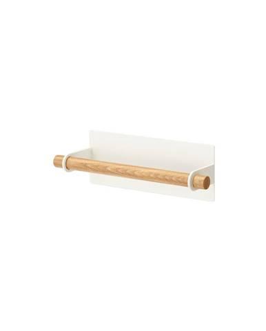 Bílý magnetický držák utěrek s detailem z bukového dřeva YAMAZAKI Tosca