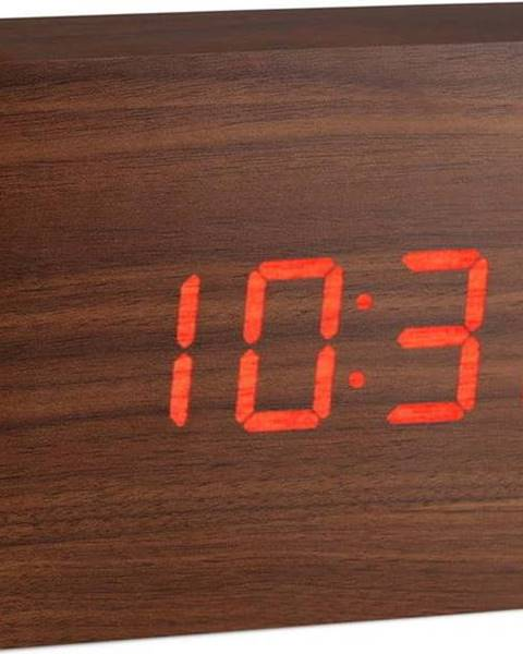 Gingko Hnědý budík s červeným LED displejem Gingko Brick Click Clock