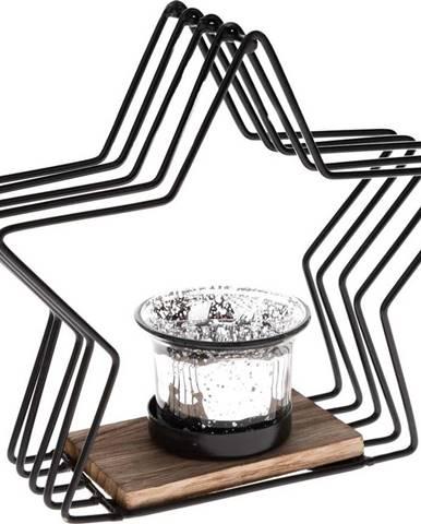 Černý kovový svícen ve tvaru hvězdy Dakls, výška 18 cm