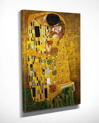 Nástěnná reprodukce na plátně Gustav Klimt The Kiss, 30 x 40 cm