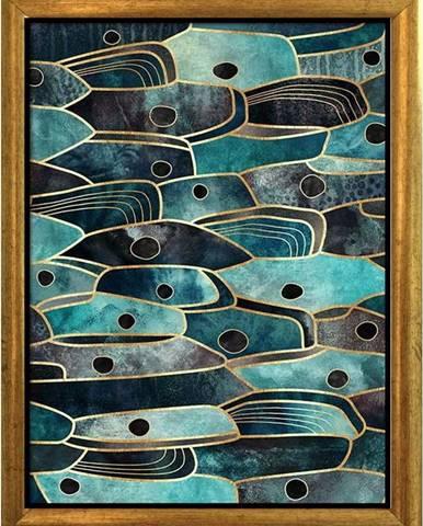 Plakát v rámu ve zlaté barvě Piacenza Art Fishy, 33,5 x 23,5 cm