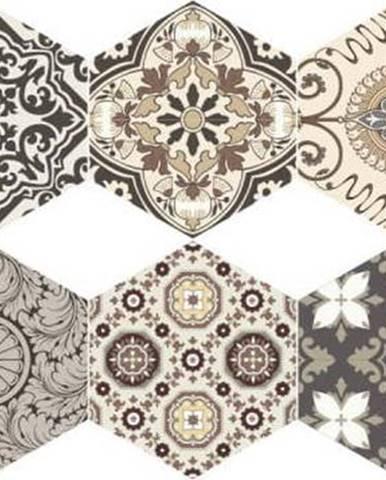 Sada 10 samolepek na podlahu Ambiance Floor Stickers Hexagons Luiza, 40 x 90 cm