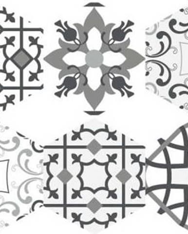 Sada 10 samolepek na podlahu Ambiance Floor Tiles Hexagons Francia, 40 x 90 cm