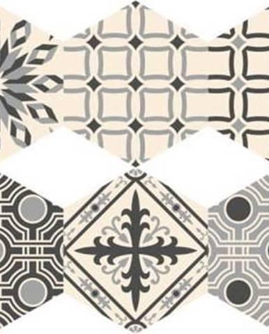 Sada 10 samolepek na podlahu Ambiance Hexagons Alejandro, 20 x 18 cm
