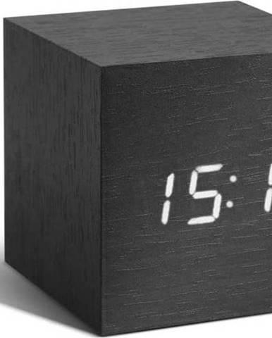 Tmavě šedý budík s bílým LED displejem Gingko Cube Click Clock