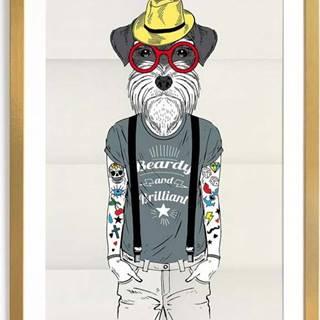 Zarámovaný plakát Really Nice Things Hipster Dog, 65 x 45 cm