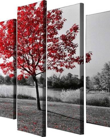 5dílný obraz na plátně Red Tree