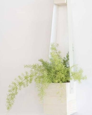 Bílý květináč z jedlového dřeva Surdic Colgantes, 17 x 62 cm