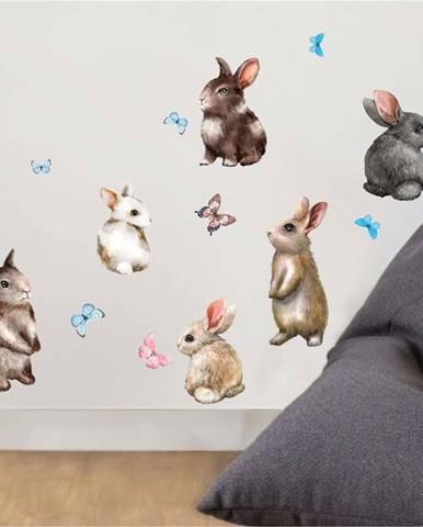 Nástěnné dětské samolepky Ambiance Baby Rabbits