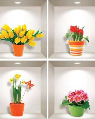 Sada 4 3D samolepek na zeď Ambiance Prairie Flowers