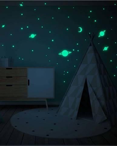 Sada nástěnných dětských svítících samolepek Ambiance Stars and Planets Milky Way