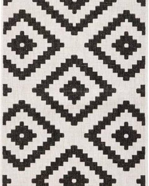 Bougari Černo-krémový venkovní koberec Bougari Malta, 80x250 cm