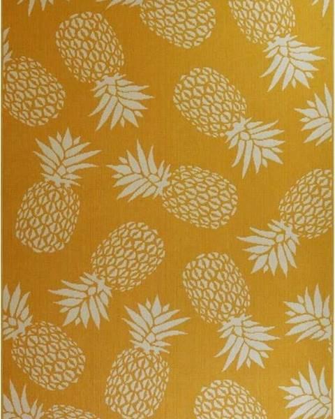 Floorita Žlutý venkovní koberec Floorita Ananas, 133 x 190 cm