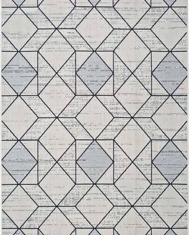 Bílošedý venkovní koberec Universal Elba Geo, 140 x 200 cm