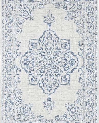 Modro-krémový venkovní koberec Bougari Tilos, 80 x 150 cm