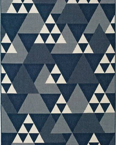 Modrý venkovní koberec Universal Clhoe Triangles, 80 x 150 cm
