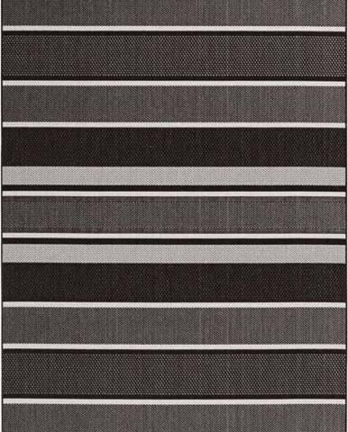 Černý venkovní koberec Bougari Strap, 80x200cm