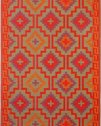 Oranžovo-fialový oboustranný venkovní koberec z recyklovaného plastu Fab Hab Lhasa Orange & Violet, 150 x 240 cm