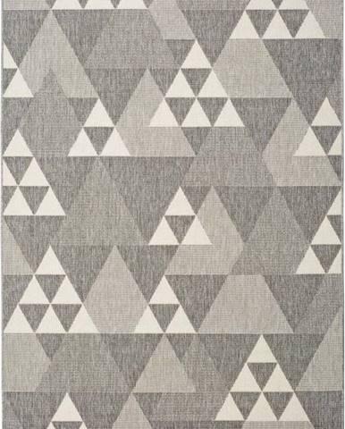 Šedý venkovní koberec Universal Clhoe Triangles, 80 x 150 cm