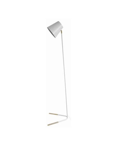Leitmotiv Bílá volně stojící lampa s detaily ve zlaté barvě Leitmotiv Noble